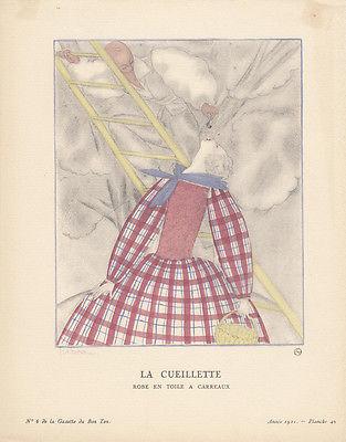 Obsternte Pochoir Gazette de Bon Ton 1921 Mode ART DECO