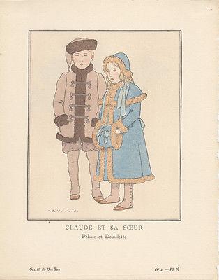 Claud et sa Soeur Pochoir Gazette de Bon Ton 1922 Mode ART DECO Boulet de Manuel