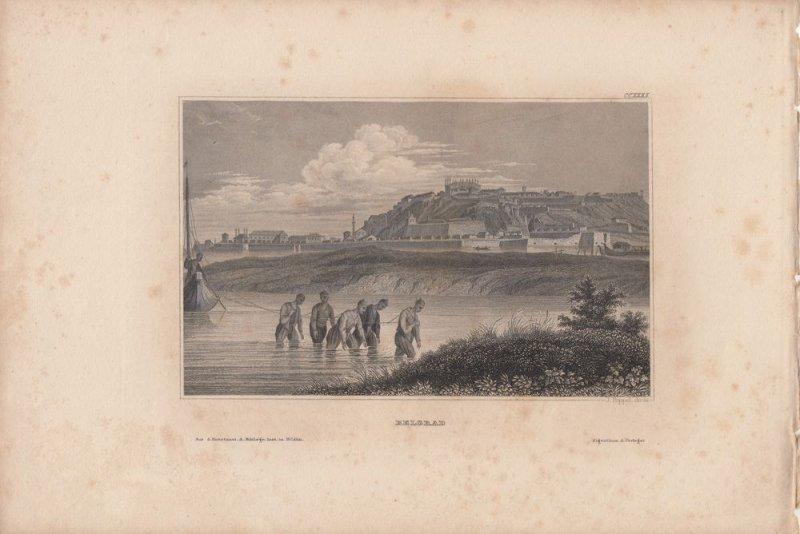 Belgrad Beograd Serbien Orig. Stahlstich Poppel 1850 Südosteuropa