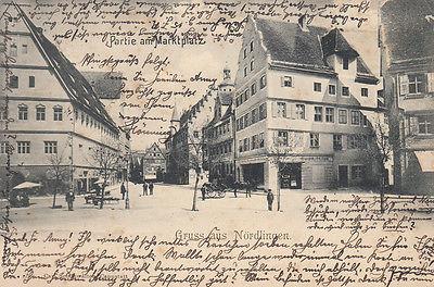 Ak Nördlingen Donau-Ries Partie am Marktplatz gel 1904 Schwaben