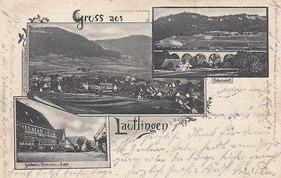 AK Lautlingen Zollernalbkreis Totale Bahnviadukt Gasthaus Krone gel 1904