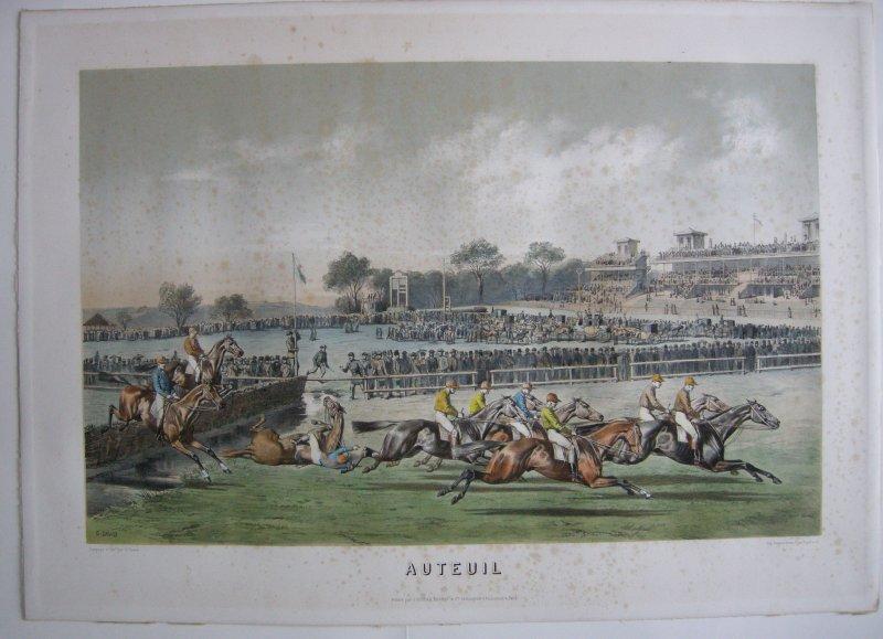 Gustave David (1824-1891) Auteuil Pferderennen Tiercé Orig. Lithografie 1850