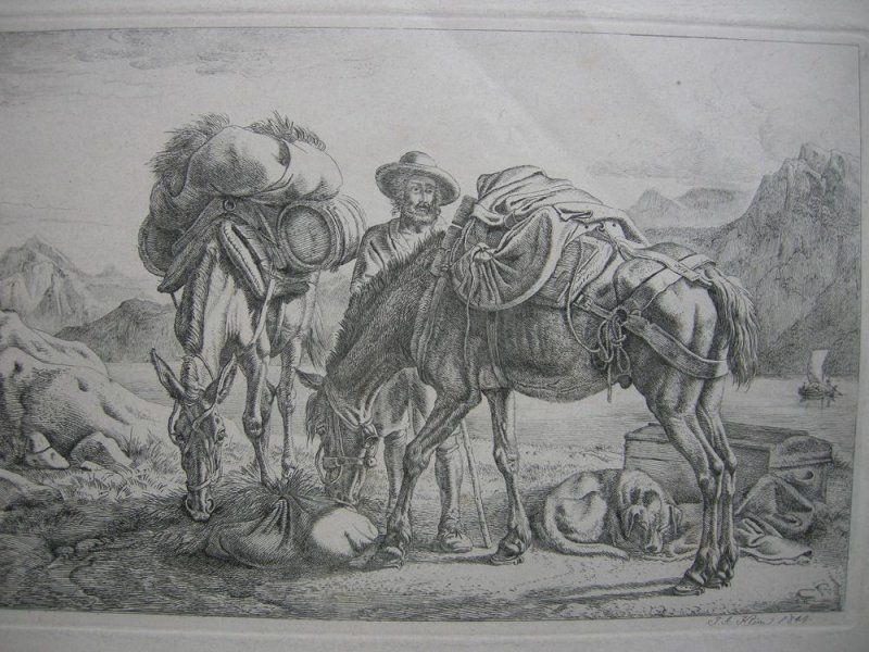 Johann Adam Klein (1792-1875) Zwei beladene Esel Orig Radierung 1844