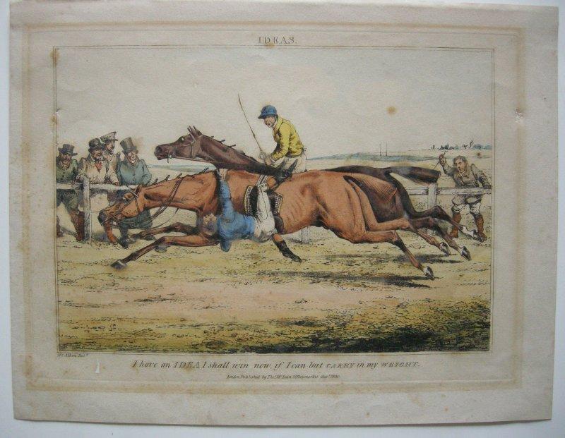 Pferderennen Horse Racing Orig Farblithografie Alken 1830 Pferde