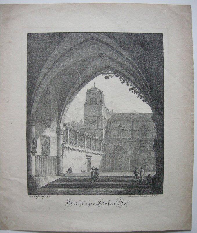Dominicus Quaglio (1787-1837) Gothischer Klosterhof Inkunabel Lithographie 1808