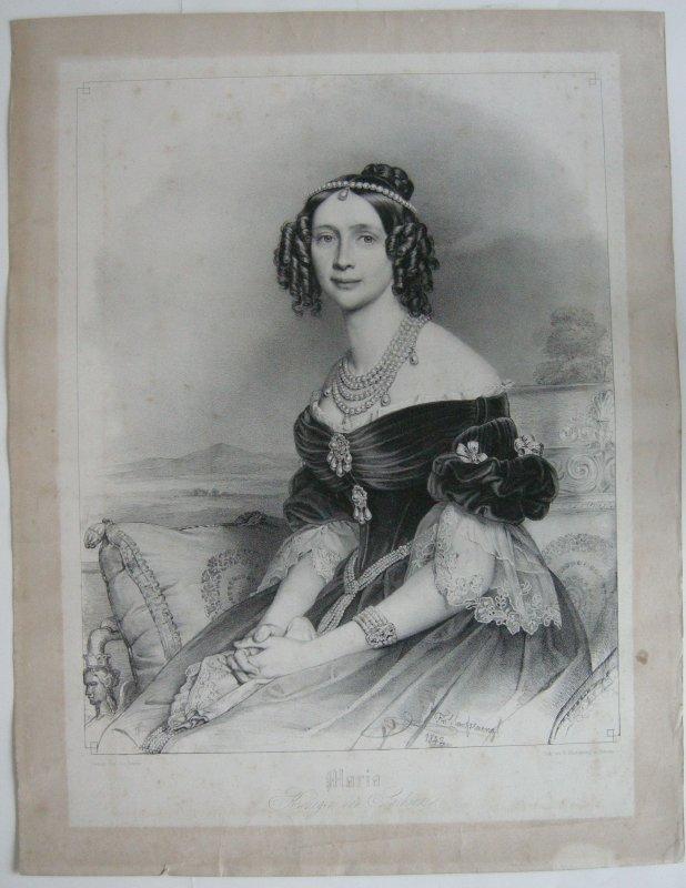 Maria Königin v Sachsen Orig. Lithographie Stieler Hanfstaengl 1842 Biedermeier