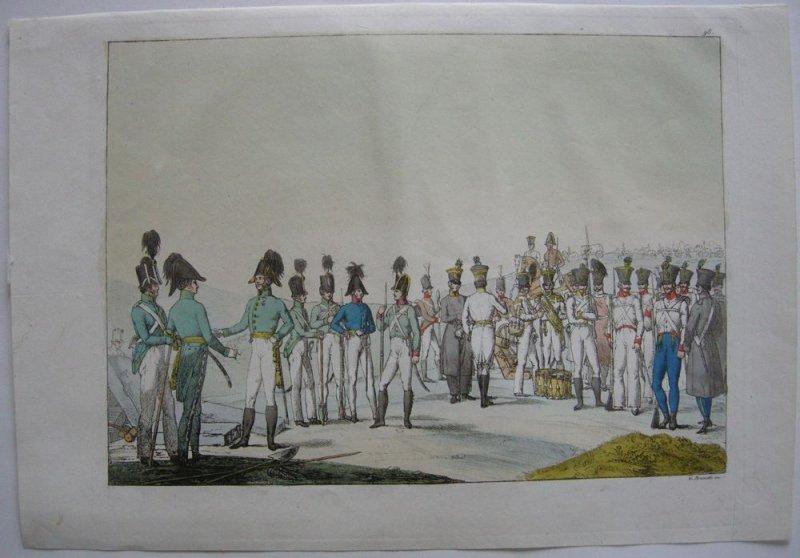 Preußische Infanterie kolor Orig Aquatinta-Radierung 1825 G. Bramatti Militär
