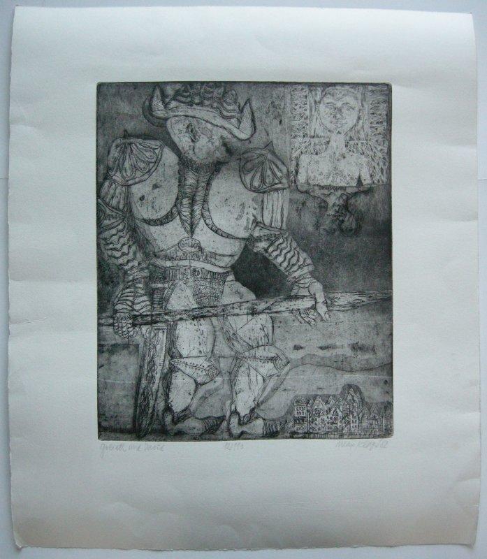 Max Kläger (1925) Goliath und David Orig. Radierung 1982 signiert