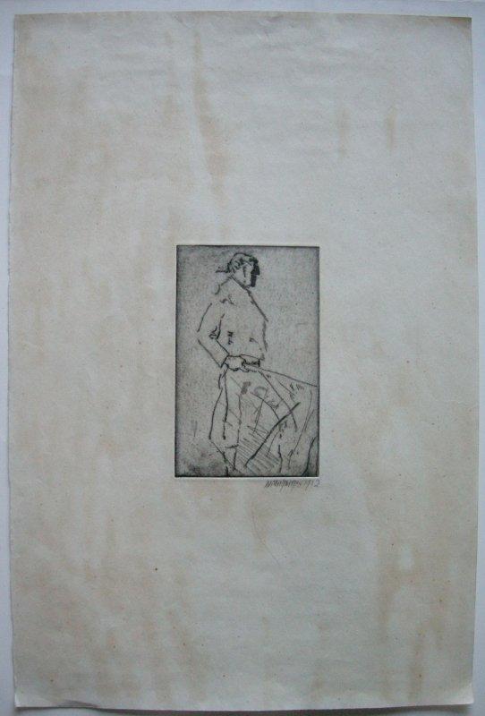 Willi Geiger (1878-1971) Torero Corrida Orig Radierung 1912 signiert