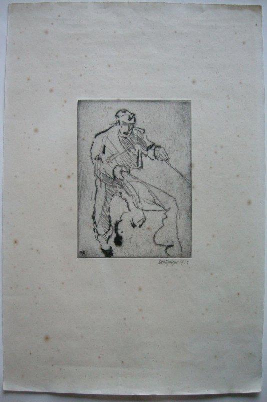 Willi Geiger (1878-1971) Stierkämpfer Orig Radierung 1912 signiert