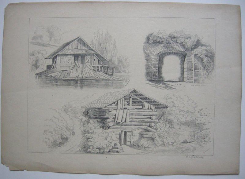 G. v. Tattenbach Murgthal Schloss Baden Geroldsau 3 Bleistiftzeichnungen 1874