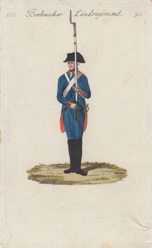 Uniformen Preußen Berlinsches Landregiment Kolor Orig Kupferstich 1790