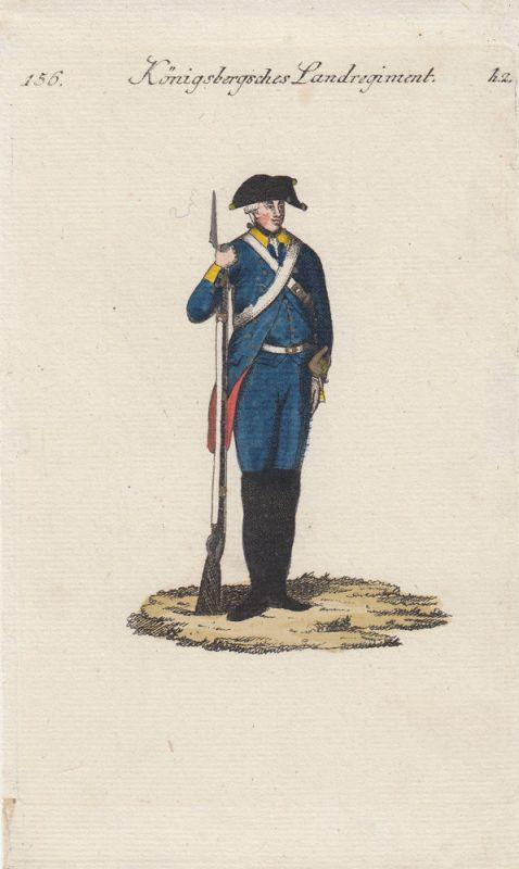Uniformen Preußen Königsbergsches Landregiment Kolor Orig Kupferstich 1790