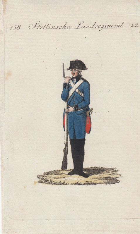 Uniformen Preußen Stettinsches Landrtegiment Kolor Orig Kupferstich 1790