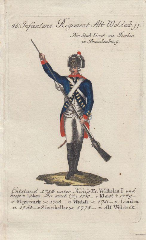Uniformen Preußen Infanterie Regiment Alt Woldeck Kolor Orig Kupferstich 1790