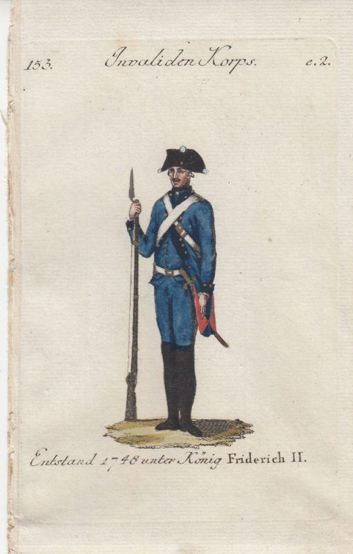 Uniformen Preußen Invaliden Korps Kolor Orig Kupferstich 1790