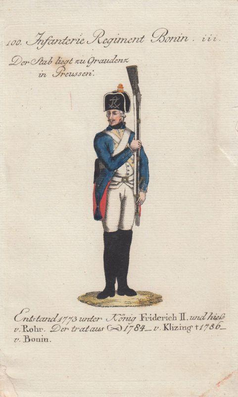 Uniformen Preußen Infanterie Regiment Bonin Kolor Orig Kupferstich 1790