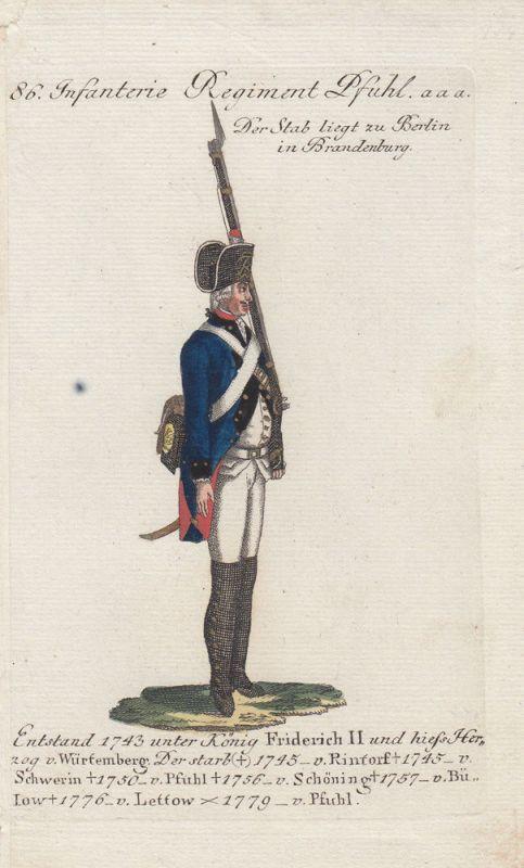 Uniformen Preußen Infanterie Regiment Pfuhl Kolor Orig Kupferstich 1790
