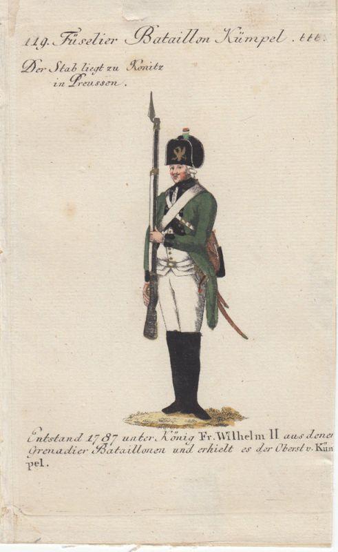 Uniformen Preußen Füselier Bataillon Kümpel Kolor Orig Kupferstich 1790
