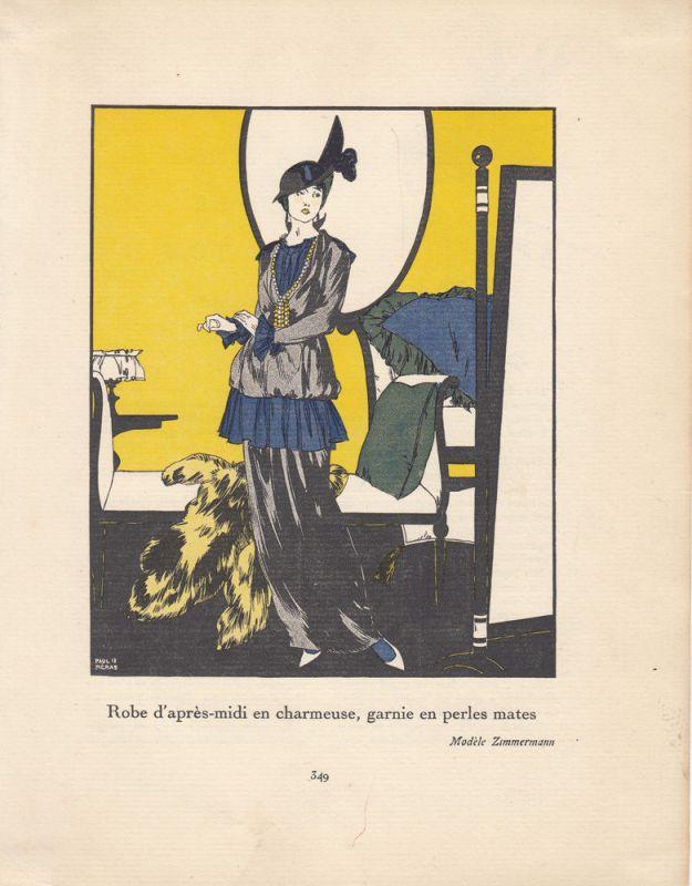 Nachmittagsrobe Pochoir Gazette de Bon Ton 1913 Mode ART DECO Paul Neras