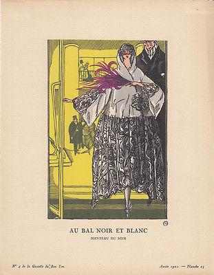 Bal Noir blanc Abendmantel Pochoir Gazette de Bon Ton 1921 Mode ART DECO Simeon