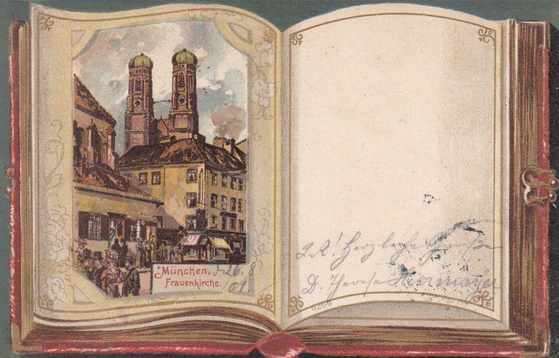 AK München Frauenkirche aufgeschlagenes Buch1901 Farblitho