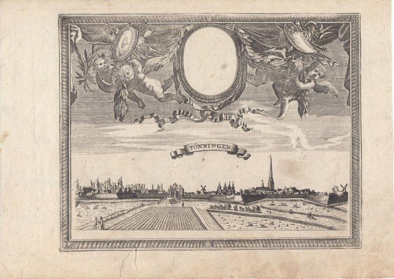 Tönning Schleswig-Holstein Gesamtansicht Putti Orig Kupferstich Bodenehr 1720