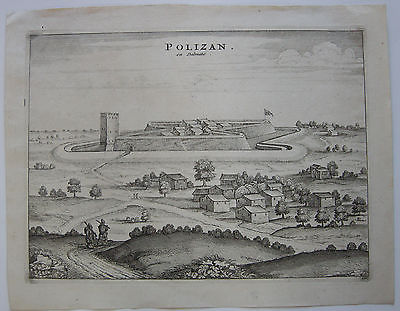 Polac Polizan Ansicht Dalmatien Kroatien Orig Kupferstich Mortier 1704
