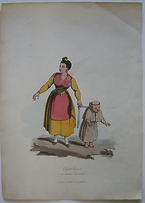 Infant Capuchin kolor Orig Lithografie Clark nach Badford 1809 Portugal