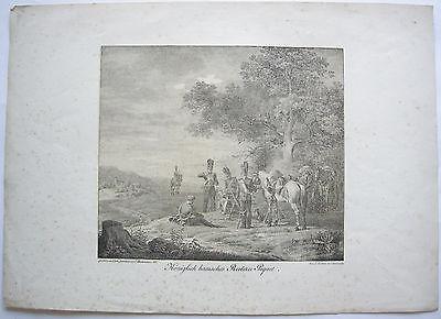 Königlich bairisches Reiterei Piquet Orig Lithographie 1822 Feldwache Militär