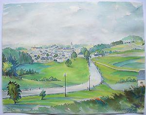Moravsky Beroun Bärn Orig Aquarell Stadtansicht signiert Mader 1970 Tschechien
