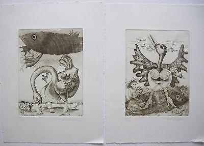 Pierre Lindner L'Oca tre Aqueforti 3 Radierungen 1995