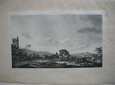 Voyage en Poste Postkutsche Orig. Lithographie Molle 1820