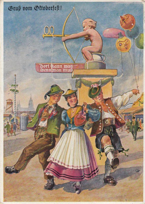 AK München Gruß vom Oktoberfest mit Leporello gel 1960