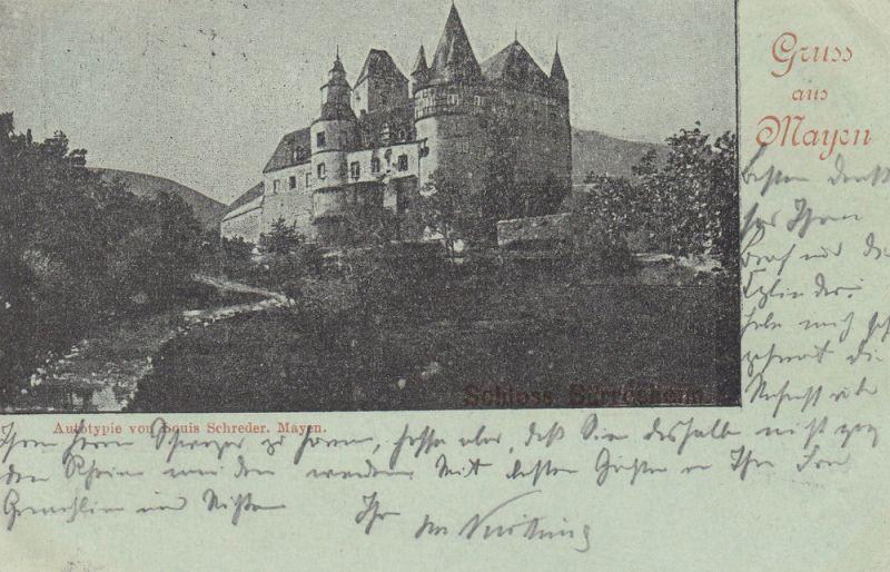 AK Mayen Koblenz Schloss Bürresheim Autotypie gel 1904 Rheinland Pfalz