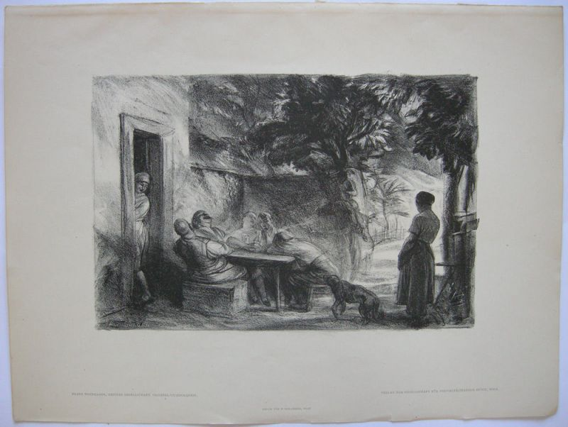 Franz Windhager (1879-1959) Heitere Gesellschaft Orig. Lithografie 1930