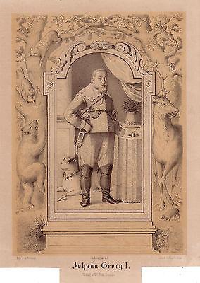 Johann Georg I. Kurfürst von Sachsen Orig Lithographie um 1850 A. Pretzsch
