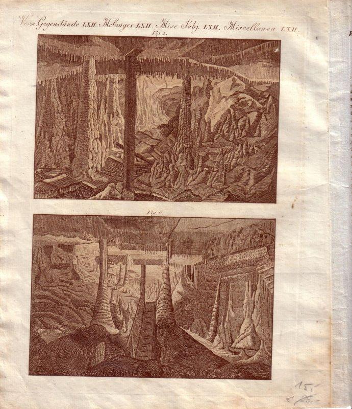 Erdmannshöhle Schwarzwald Hasel Baden Württemberg Kupferstich 1800 Speleologie