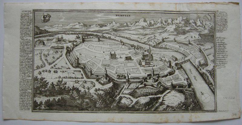 Kempten Allgäu Bayerisch Schwaben Grundrissansicht Kupferstich Bodenehr 1720