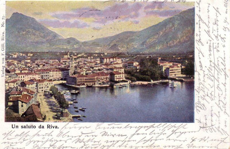 Ak Saluto da Riva Lago di Garda Gardasee Italia gel 1900