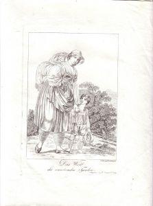 Weib des wandernden Tirolers  Radierung v. J. Laminit 1800