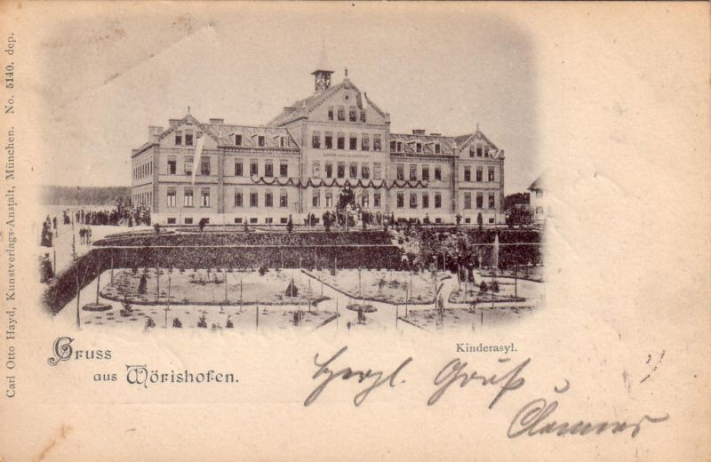 AK Gruss aus Wörishofen Kinderasyl Bayerisch Schwaben gelaufen 1898 Unterallgäu