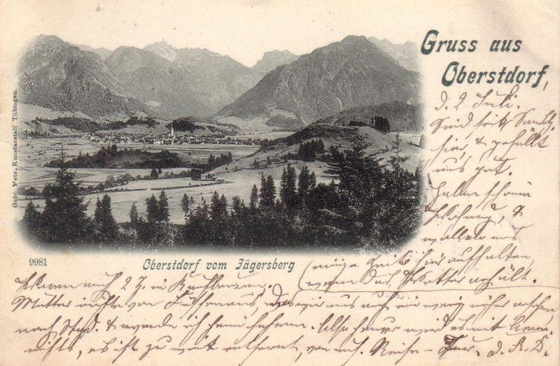 AK Gruss aus Oberstdorf Allgäu gel 1901 Schaben