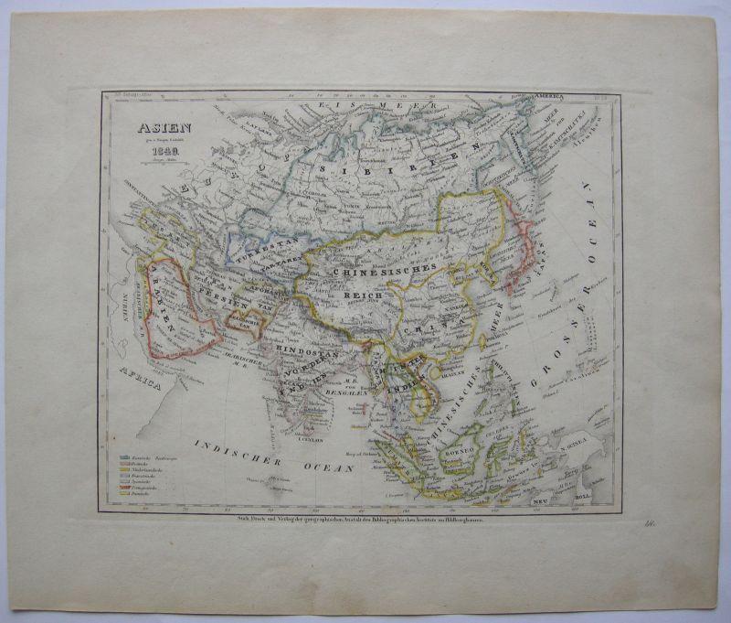 Erdteilkarte Asien kolorierter Stahlstich 1849 Bibliographisches Institut