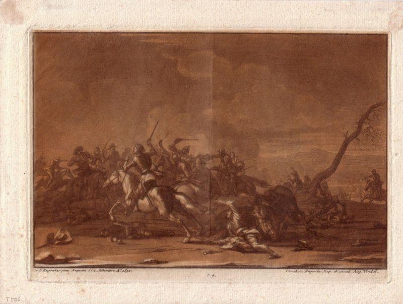 Christian Rugendas zwei Reiter zwei Wanderer ital Landschaft  Mezzotino 1725