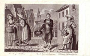 Hamburger Fischfrau Zuckerprobenstecher Lithogr 1840