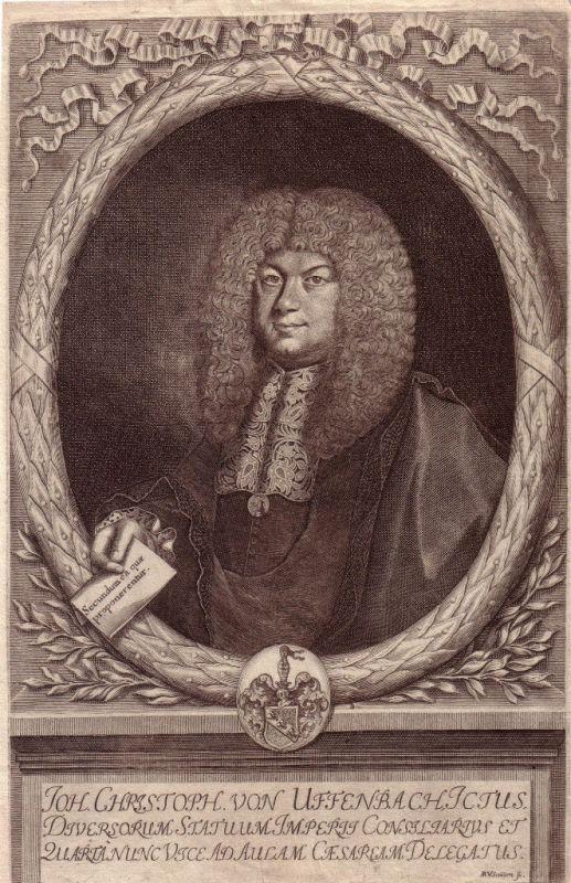 Johann Christoph Uffenbach Portrait Kupferst 1695 Hofrat Frauenstein Frankfurt