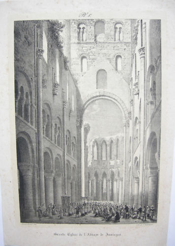Horace Vernet Eglise de Jumieges Orig Lithographie 1840