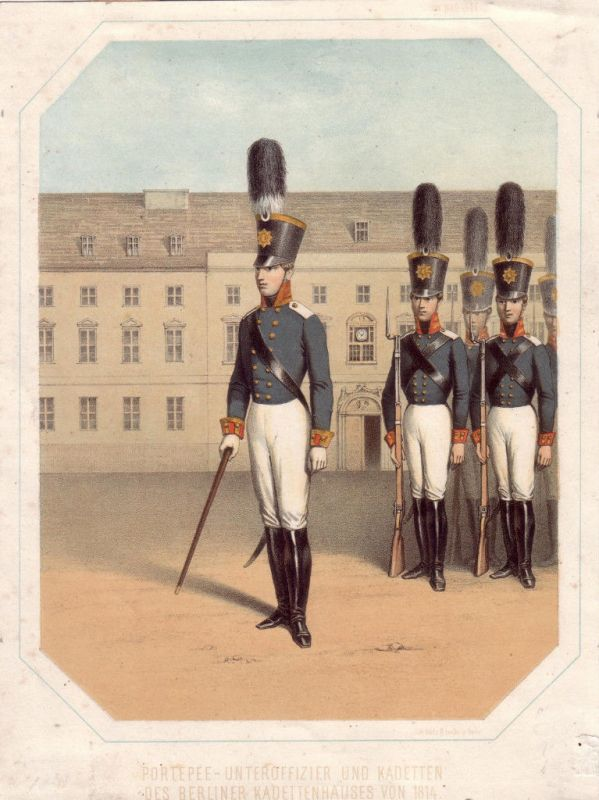 Berliner Kadetten Uniform Militaria Farblithogr 1814