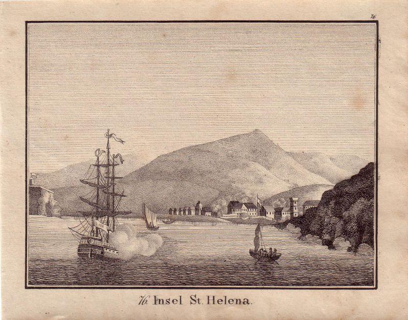 St. Helena Napoleon Lithographie 1850 England Afrika